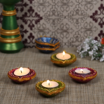 Swastika Diya Painted with Blue, Green & Red Colors - set of 6
