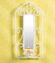 Buy Candle with Wrought iron stand with mirror -  White candle online