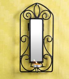 Buy Candle with Wrought iron stand with mirror -  Black candle online