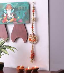 Orange & Gold Beads Ganesha Motif Door Hanging