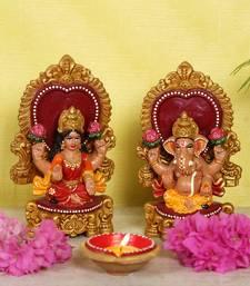 Buy Elegantly handcarved Terracotta Laxmi Ganesh idol set sculpture online