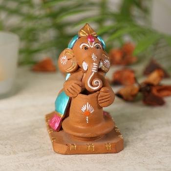 Aapno Rajasthan Multicolor Terracotta Pot Making Ganesh Showpiece