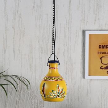 Aapno Rajasthan Yellow Teracotta Hanging Tealight Holder