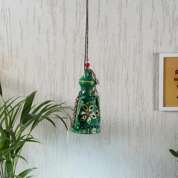 Aapno Rajasthan Green Teracotta Hanging Tealight Holder