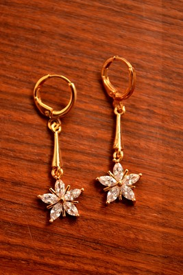 d545fa86e Designer American Diamonds Cubic Zirconia Gold Plated Floral Flower earrings  dangle drops
