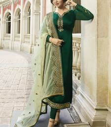 Buy Green Embroidered Georgette Semi Stitched Salwar With Dupatta semi-stitched-salwar-suit online