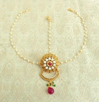 Copper Pearl Premium Gold plated rakdi mathapatti Borla Maangtikaa Hair Accessories wedding Festival - LRKD24_MG