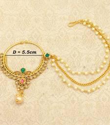 Ruby Green Big Bridal Kundan Zircon Nose Ring for wedding - LLBN09_MG