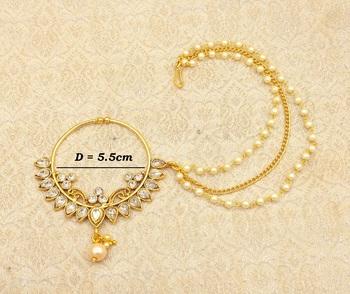 White Big Bridal Kundan Zircon Nose Ring for wedding - LLBN12_WT