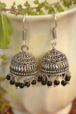 Oxidised silver handcrafted jhumka jhumki navratri earrings for ethnic clothing