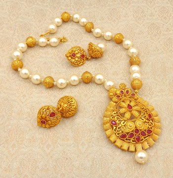 Matt Finish Ruby Pearl Mala Long Temple Pendant Earring Set for Wedding Festival - LMPS05_RB