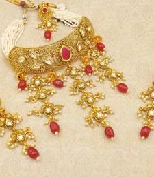 Ruby Padmavati Bridal Choker Necklace Earring Maangtikka Jewellery Set for Wedding Bridal Festival - LPVN08_RB