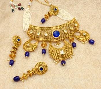 Blue Padmavati Bridal Choker Necklace Earring Maangtikka Jewellery Set for Wedding Bridal Festival - LPVN09_BL