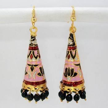 Meenakari Cone Long Jhumars Pearl Pink Black