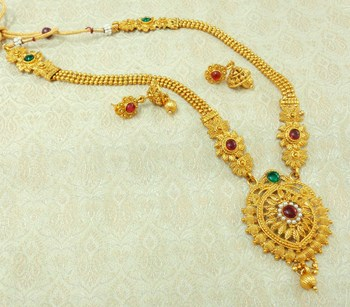 Kempu Green Gold plated Long Haaram Necklace Earring Set For Wedding Festival - LLGS16_KG