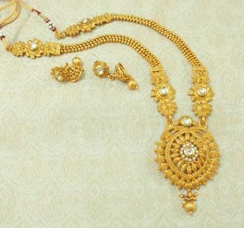 White Kundan Gold plated Long Haaram Necklace Earring Set For Wedding Festival - LLGS16_WT
