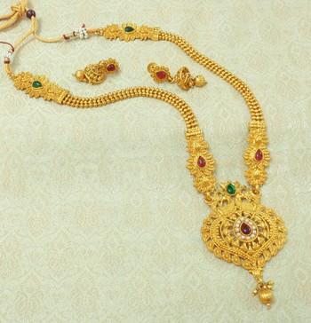 Kempu Green Gold plated Long Haaram Necklace Earring Set For Wedding Festival - LLGS20_KG