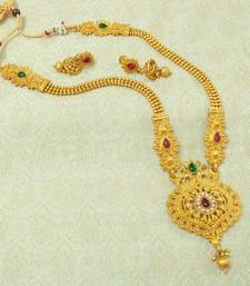 Buy Kempu Green Gold plated Long Haaram Necklace Earring Set For Wedding Festival - LLGS20_KG necklace-set online