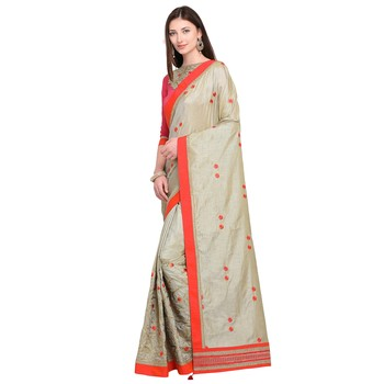beige embroidered two tone silk saree with blouse