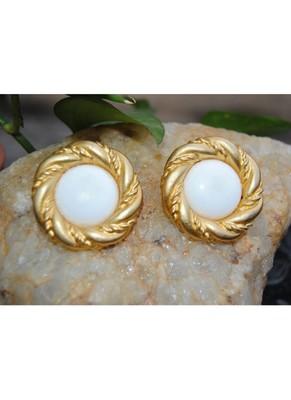 Gold Rimmed White Stud Earrings