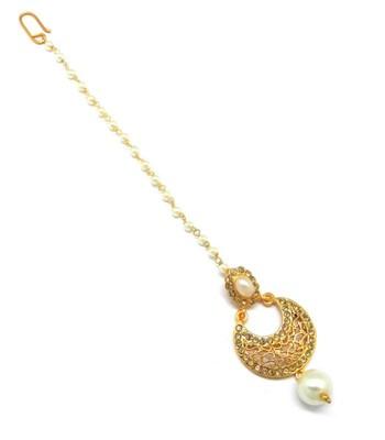Jewellery Chandbali Jaali Work Maang Tikka Decorated With Crystal & Pearl For Women/Girls