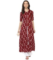 Maroon printed cotton kurtis