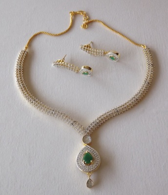 Golden And White Delicate American Diamond Necklace Set With Earrings