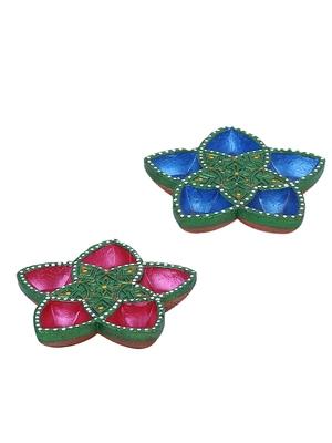 Aapno Rajasthan Set Of 2 Panchmukhi Terracotta Diyas