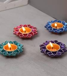 Buy Aapno Rajasthan Floral Design Handpainted Terracotta Diyas-Set Of 4 diya online