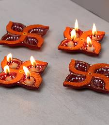 Aapno Rajasthan Swastik Design Terracotta Diya-Set Of 4