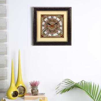Aapno Rajasthan Handpainted Motifs Marble Wall Clock