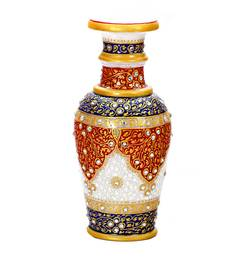 Red and Blue Marble Vase With Kundan Work