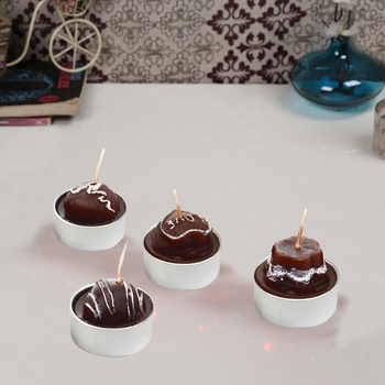 Aapno Rajasthan Yummy Chocolate Shape Candles- Pack Of 4