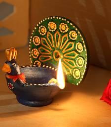 Buy Aapno Rajasthan Metallic Coloured Peacock Design Terracota Diya diya online