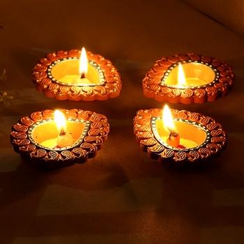 Aapno Rajasthan Delicately Carved Terracotta Diyas - Set Of 4