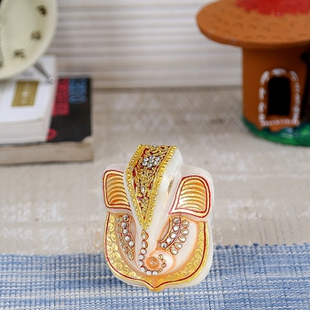 Aapno Rajasthan Marble Ganesha Showpiece