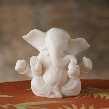 Aapno Rajasthan Semi Abstract White Marble Vakratunda Ganesha