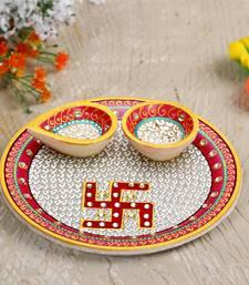 Aapno Rajasthan Pure White Marble Pooja Thali with Diya and Swastik Motifs