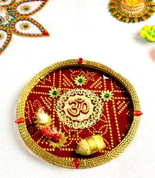 Aapno Rajasthan Rose  and  Ganesha Motif embellished Pooja Thali