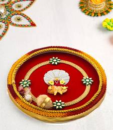 Aapno Rajasthan Red  and  Yellow Pooja Thali with Ganesh Motif