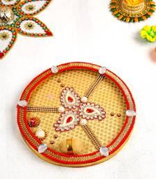Aapno Rajasthan Beautiful Kundan Studded Paisley Design Pooja Thali
