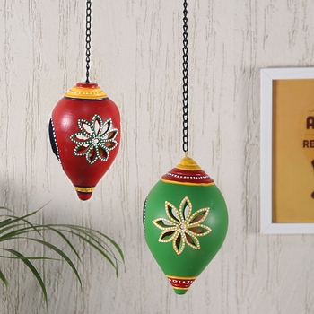 Aapno Rajasthan Green  And  Red Wall Hanging Holder