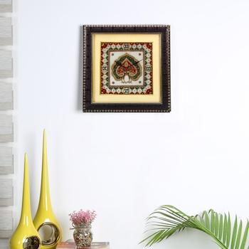 Aapno Rajasthan Dancing Peacock Motif Marble Wall Clock