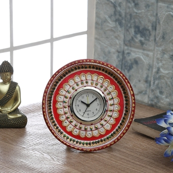 Aapno Rajasthan Marvel In Marble - Gold Embossed Kundan Work Alarm Clock