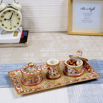 Aapno Rajasthan Marvel In Marble - Gold Embossed Utility Tray Set
