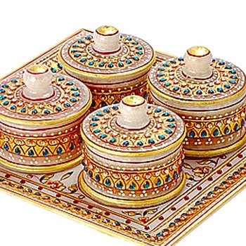 Aapno Rajasthan Marvel In Marble - Tray With Containers