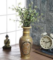 Buy Embossed Gold And Kundan Work Marble Flower Vase vase online