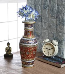 Buy Traditional Marble Vase With Embossed Gold And Kundan Work vase online