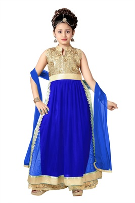 Blue Embroidered Net Kids Kurtis