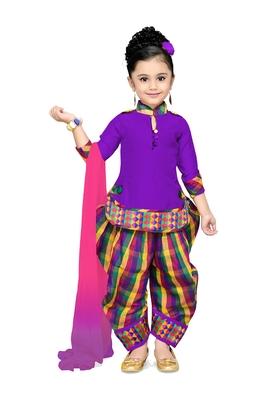 Purple Plain Cotton Kids Kurtis